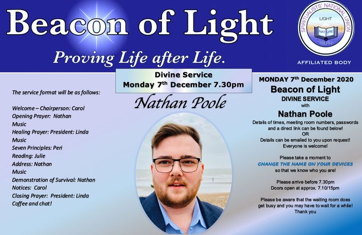 Divine Service - Nathan Poole - Monday 7th December 7.30pm